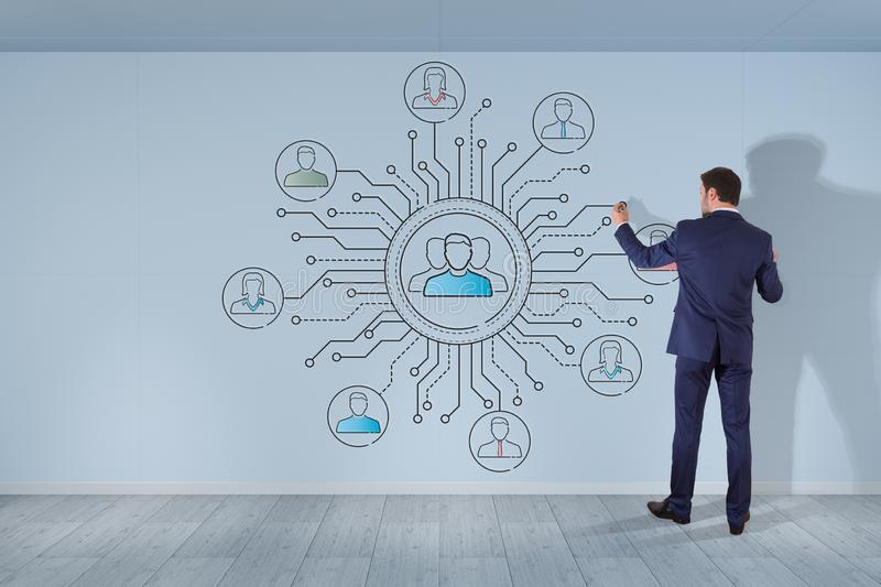 Businessman drawing thin line social network icons interface. On a wall vector illustration