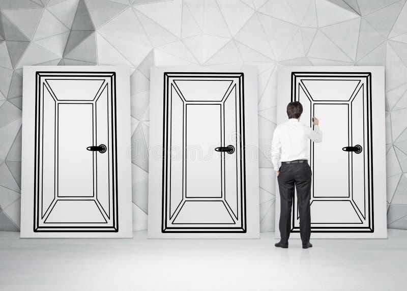 Download Businessman Drawing Three Doors Stock Image - Image of indoor painting 48735205 & Businessman Drawing Three Doors Stock Image - Image of indoor ...