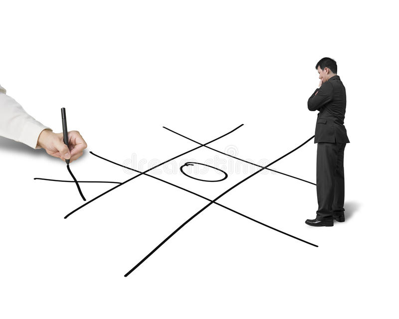 Businessman drawing Tic-Tac-Toe game on white background, another thinking stock photos