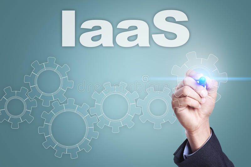 Businessman drawing on virtual screen. iaas concept.  stock image