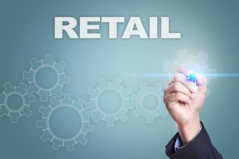 Businessman drawing on virtual screen. retail concept stock illustration