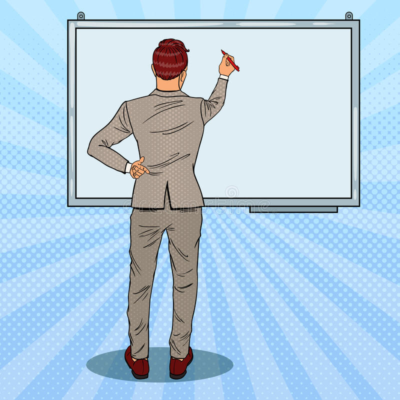 Businessman Drawing on the Whiteboard. Business Presentation. Pop Art illustration. Businessman Drawing on the Whiteboard. Business Presentation. Pop Art vector royalty free illustration