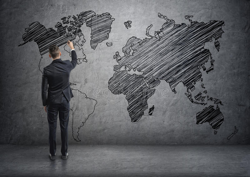 Businessman drawing world map on the concrete wall stock download businessman drawing world map on the concrete wall stock illustration illustration of network gumiabroncs Choice Image