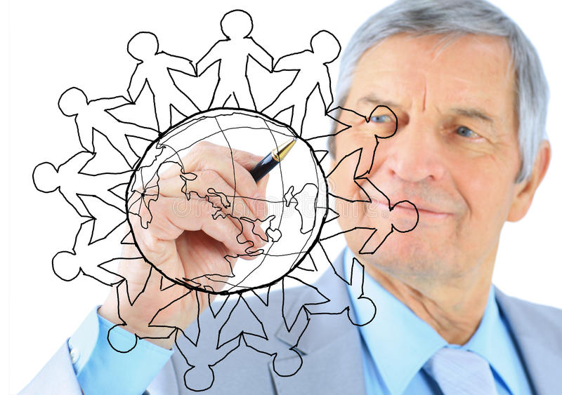 Businessman drawing the world map royalty free stock photo