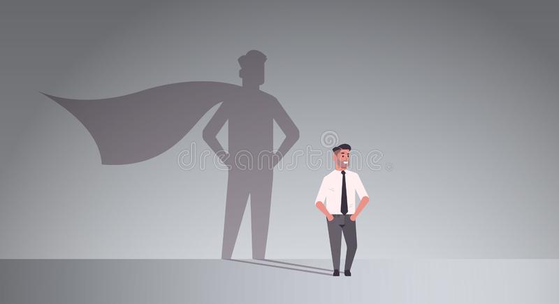 Businessman dreaming about being super hero shadow of man with cape imagination aspiration concept male cartoon. Character standing pose full length flat royalty free illustration