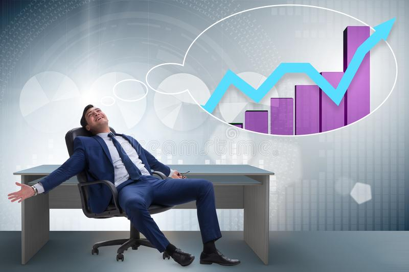 The businessman dreaming of economy and market recovery growth. Businessman dreaming of economy and market recovery growth royalty free illustration