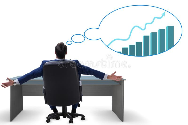 The businessman dreaming of economy and market recovery growth. Businessman dreaming of economy and market recovery growth vector illustration