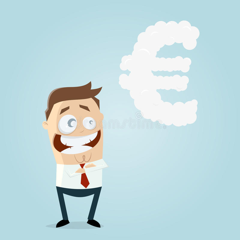 Businessman dreaming of euro. Clipart of a businessman who is dreaming of euro vector illustration