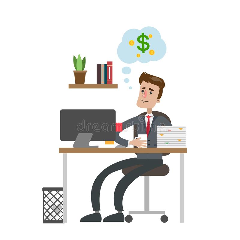 Businessman dreaming about money. Businessman dreaming about money and sitting at office royalty free illustration