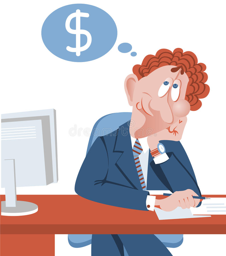 Download Businessman Dreaming About More Success Money.Vect Stock Vector - Image: 33502358