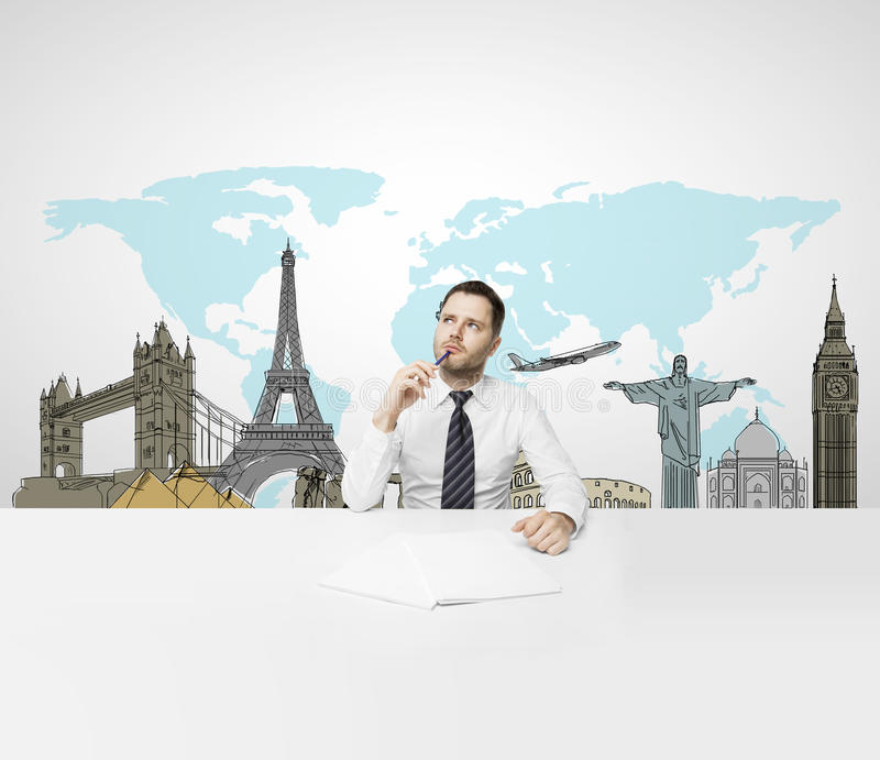 Businessman dreaming at travel stock images