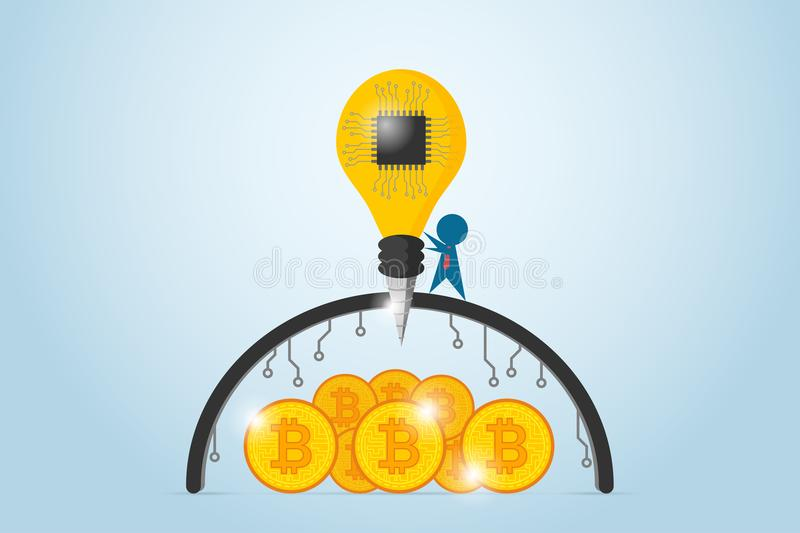 Businessman drilling barrier with lightbulb drill and chip processor to find bitcoins, idea and business concept. Vector and illustration vector illustration
