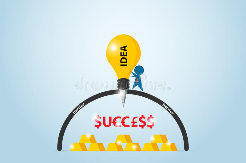Businessman drilling barrier with lightbulb drill to find success word and gold bars, idea and business concept. Vector and illustration stock illustration