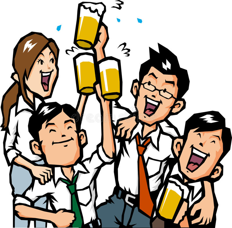 Businessman drinking with friends. Fellow and happily drink business Wanda stock illustration