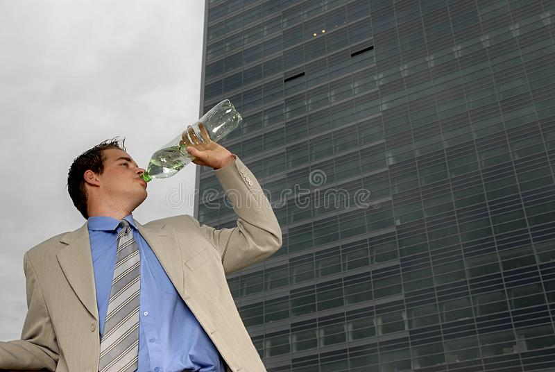 Businessman drinking water royalty free stock photos