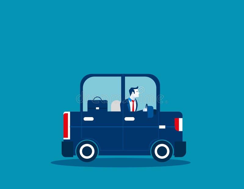 Businessman driving car. Concept business illustration. Vector b. Usiness transport royalty free illustration