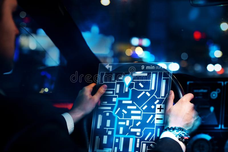 Businessman driving car with taxi interface stock illustration