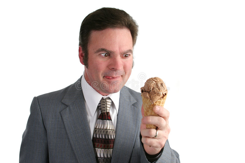 Businessman Drooling For Ice Cream Royalty Free Stock Image