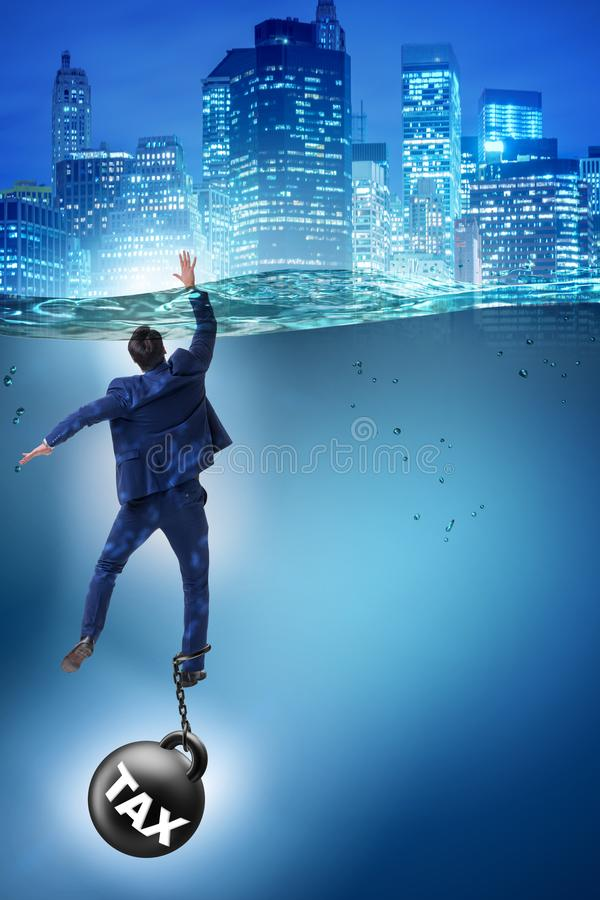 The businessman drowning in concept of high taxes stock illustration