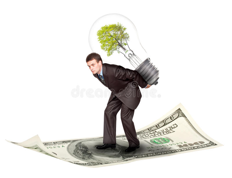 Download Businessman with eco lamp stock photo. Image of overuse - 20386202
