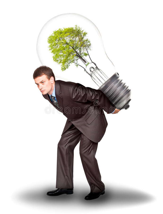 Businessman With Eco Lamp On Back Royalty Free Stock Image
