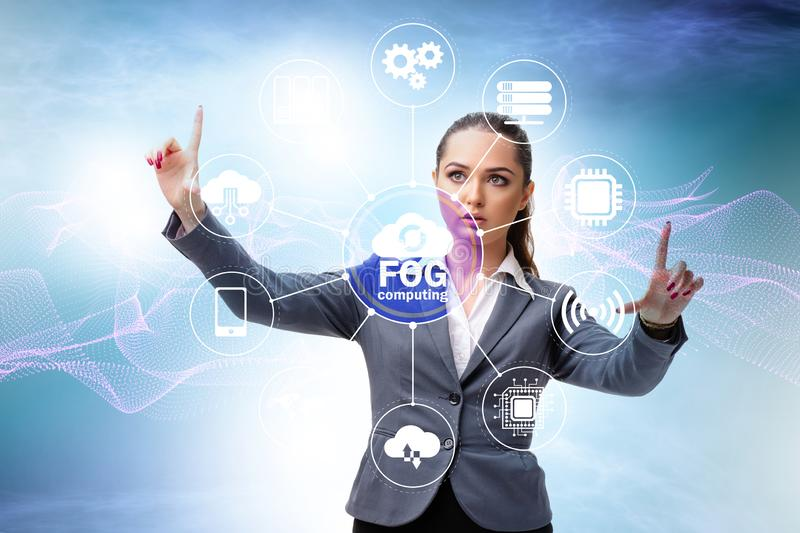 Businessman in edge and fog computing concept. The businessman in edge and fog computing concept royalty free stock image