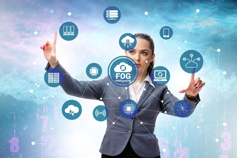 Businessman in edge and cloud computing concept. The businessman in edge and cloud computing concept stock photo