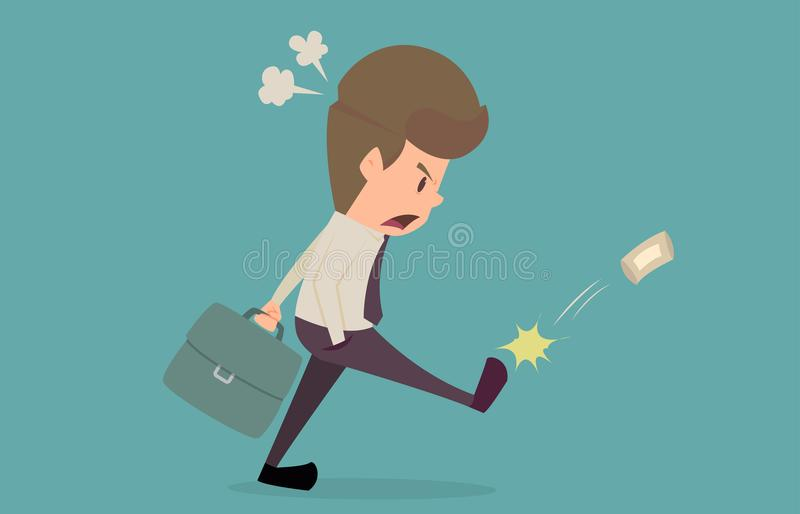 Businessman edgy with the bad situation.cartoon of business success is the concept of the man characters business, the mood of pe vector illustration