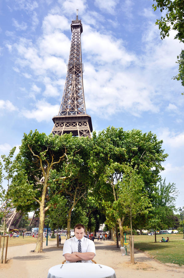 Businessman and Eiffel tower royalty free stock images