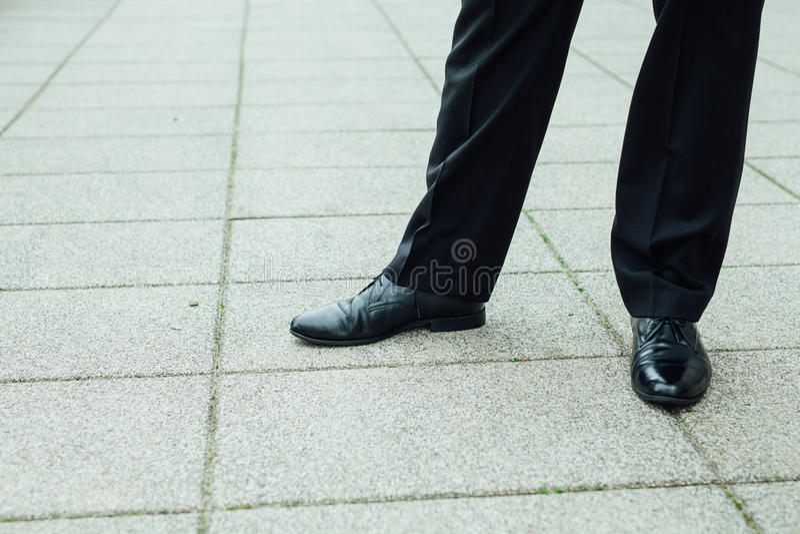 Businessman elegant shoes close up. royalty free stock image