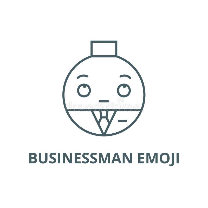 Businessman emoji line icon, vector. Businessman emoji outline sign, concept symbol, flat illustration. Businessman emoji line icon, vector. Businessman emoji stock illustration