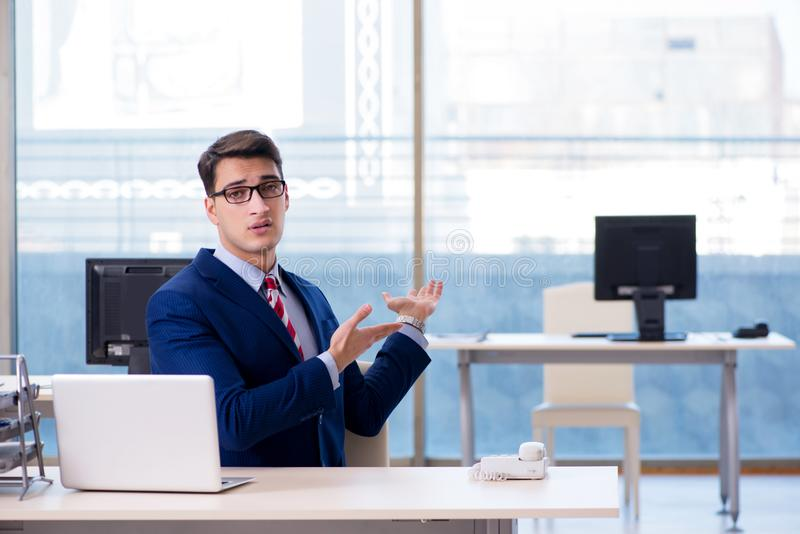 The businessman employee unhappy about absent employee royalty free stock photo