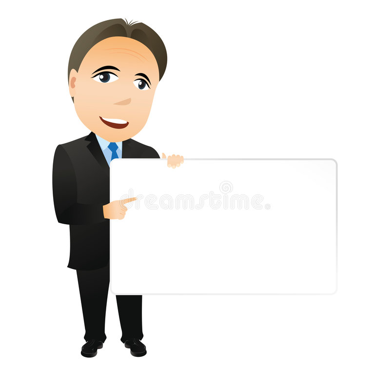 Businessman with empty board royalty free stock photos