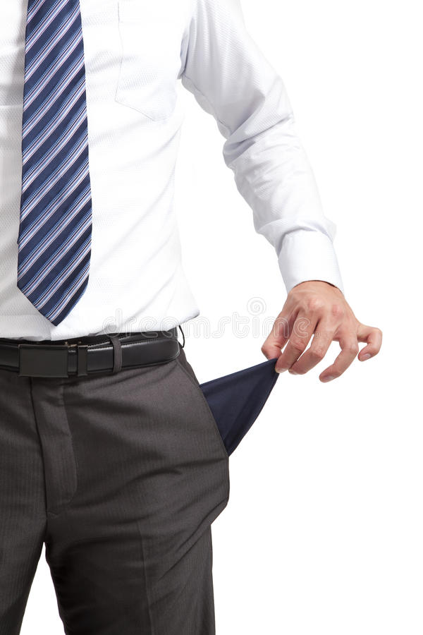 Businessman with empty pocket stock photography