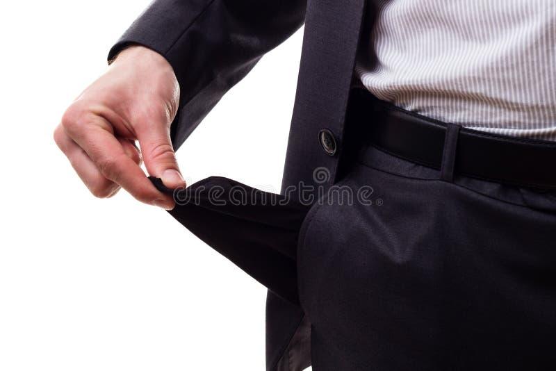 Businessman empty pocket stock photos