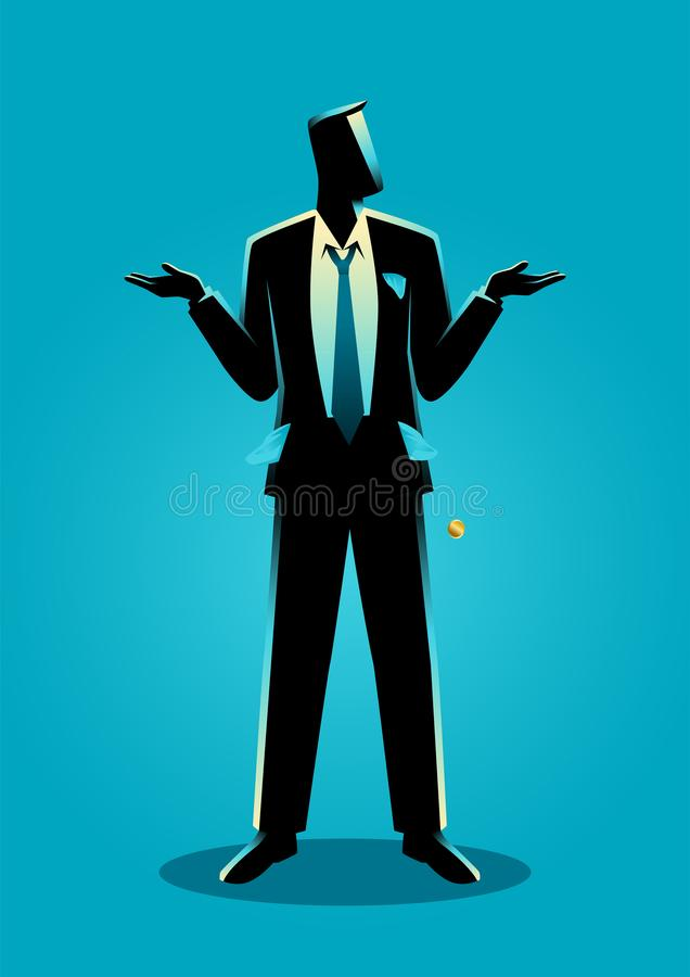 Businessman with empty pockets turned outward royalty free stock image