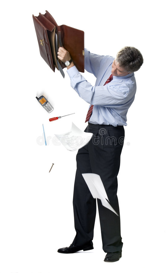 Download Businessman Emptying A Briefcase Stock Image - Image: 1555237