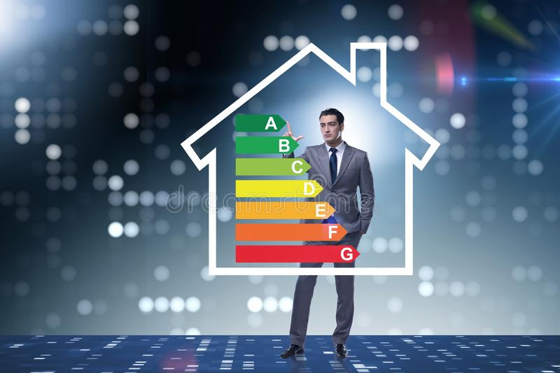 The businessman in energy efficiency concept royalty free stock images