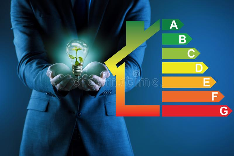 The businessman in energy efficiency concept royalty free stock image