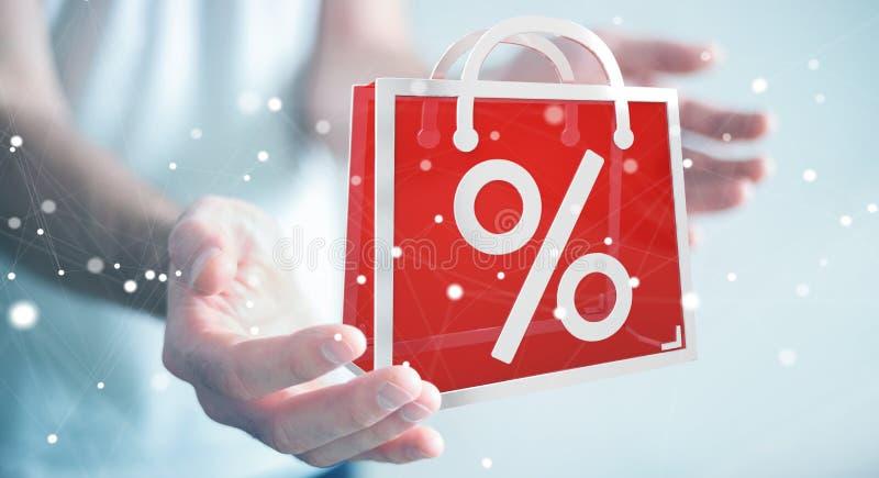 Businessman enjoying black Friday sales 3D rendering vector illustration