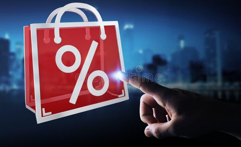 Businessman enjoying black Friday sales 3D rendering stock illustration