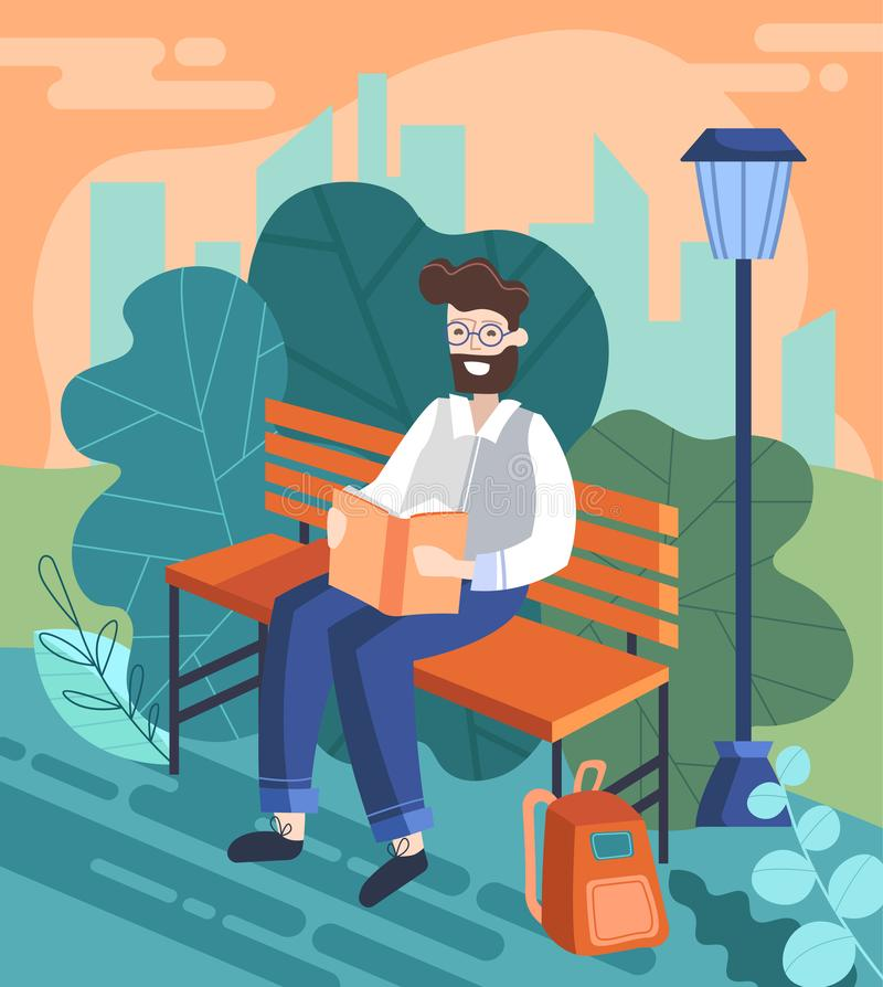 Businessman enjoying a Break from the office reading a book on a park bench outdoors, colorful cartoon vector stock illustration