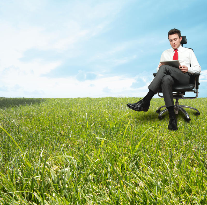Download Businessman Enjoying A Relaxing Day Stock Photo - Image of male, mobile: 25820868