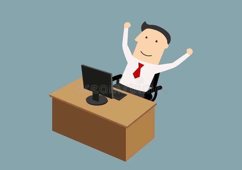 Businessman enjoying success with raised hands vector illustration