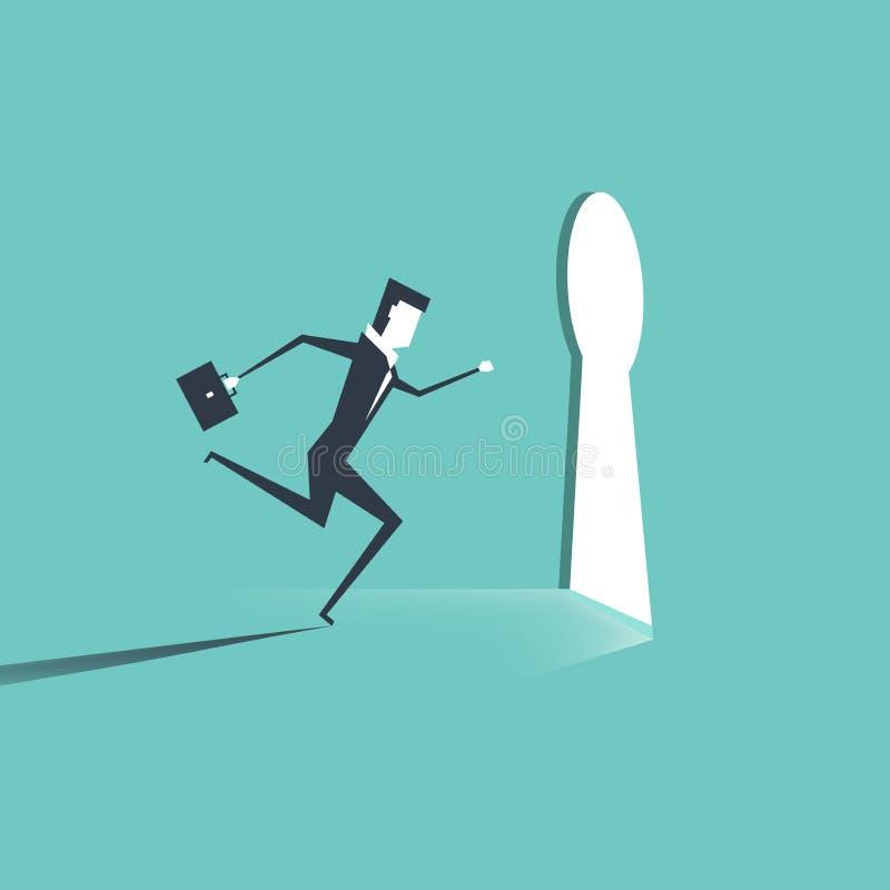 Businessman entering keyhole. Businessman running towards a key hole. stock illustration