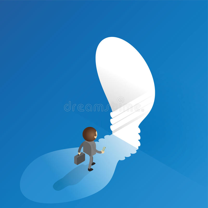 Businessman entering the light bulb. Vector isometric royalty free illustration