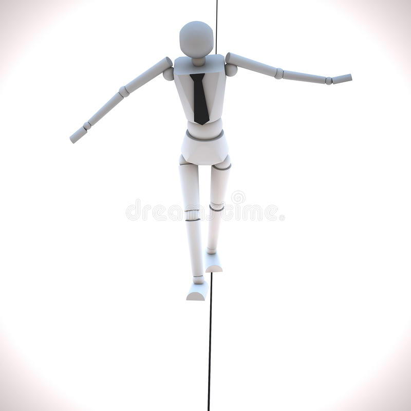 Businessman In Equilibrium On A Rope Royalty Free Stock Images
