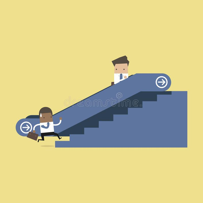 Businessman on escalator and another man climbing the stairs. stock illustration