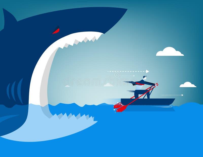 Businessman escape on the shark. Concept business illustration royalty free illustration