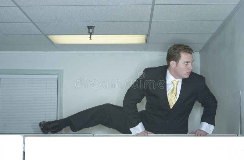 Businessman escapes stock photo
